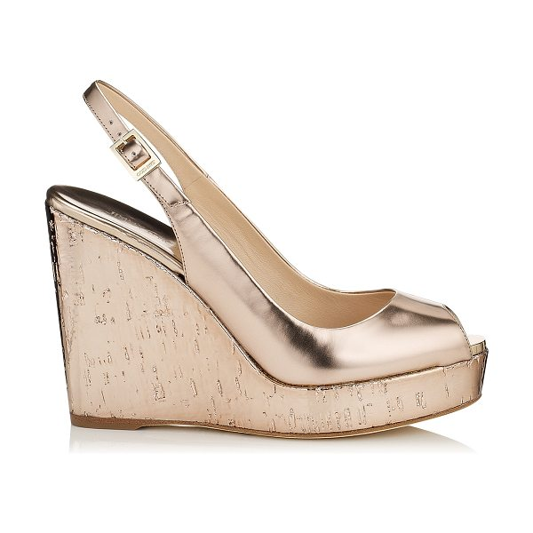 Jimmy Choo Prova nude mirror leather and metallic cork wedges in nude - Slip on by the pool with a kaftan or wear after dark...