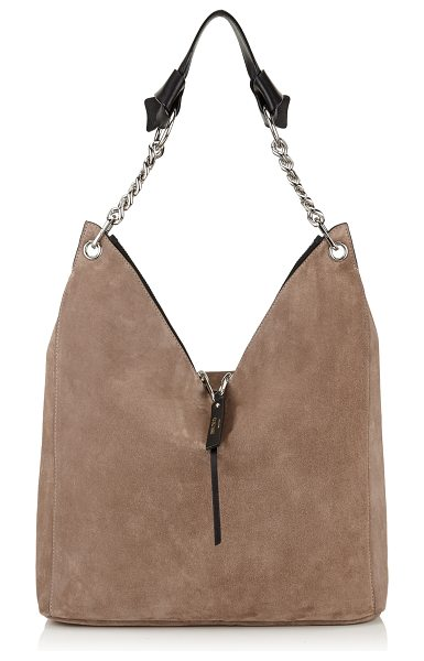JIMMY CHOO RAVEN Light Mocha Suede Shoulder Bag - An easy to wear and practical shoulder bag. The shoulder...