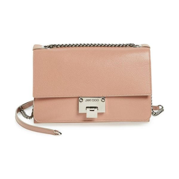 Jimmy Choo Rebel grained leather shoulder bag in ballet pink - Clean lines and a rich hue define a minimalist flap bag...
