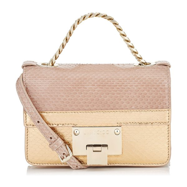 JIMMY CHOO REBEL SOFT MINI Ballet Pink and Tea Rose Metallic Elaphe Cross Body Bag in ballet pink/tea rose - Still a fairly new addition to the family, the Rebel...