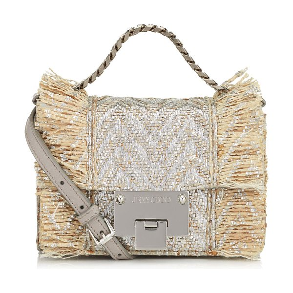 JIMMY CHOO REBEL SOFT MINI Natural and Silver Metallic Raffia Mini Cross Body Bag - A versatile, modern style with a sleek silhouette, this...
