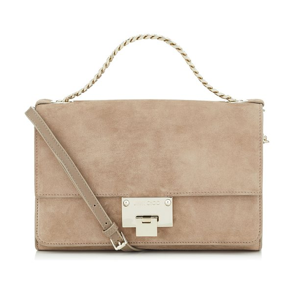 Jimmy Choo REBEL SOFT/S Light Mocha Suede Messenger Bag in light mocha - The Rebel Soft messenger bag in light mocha is the...