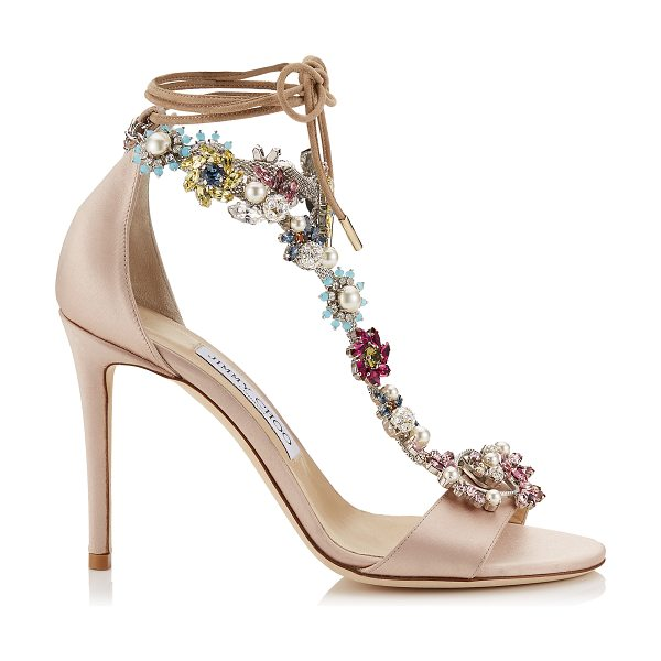 JIMMY CHOO REIGN 100 Dusty Rose Satin Sandals with Camellia Mix Anklet - A refined two piece sandal with ankle tie detailing,...
