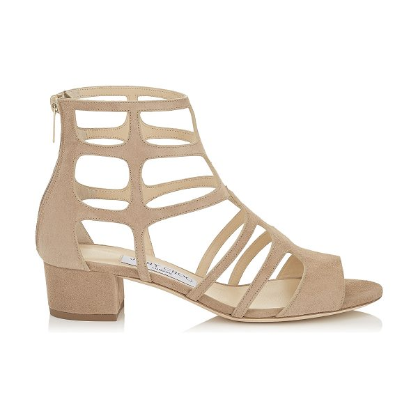 JIMMY CHOO REN 35 Nude Suede Sandals - The Ren sandal in nude suede is the ultimate statement...