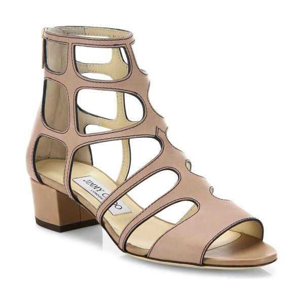 Jimmy Choo ren caged leather block heel sandals in nude - Caged leather block-heel sandal with contrast stitching....