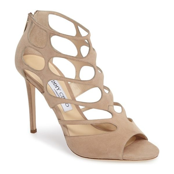 Jimmy Choo jimmy choo 'ren' cutout sandal in nude suede - Dramatic cutouts create a delicate, lacy effect on a...