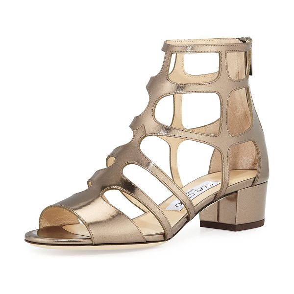 """Jimmy Choo Ren Mirrored Caged 35mm Sandals in gold - Jimmy Choo mirrored leather sandal. 1.5"""" covered block..."""