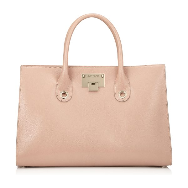 JIMMY CHOO RILEY Ballet Pink Soft Grained Leather Tote Bag - Comfortable to carry with easy internal access, this...
