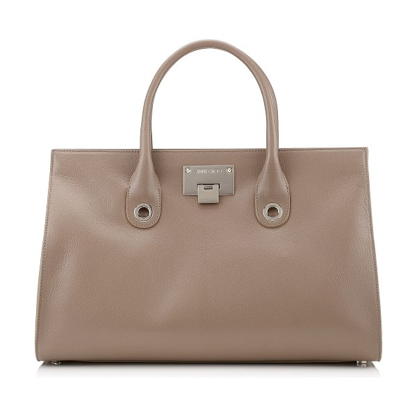 Jimmy Choo RILEY Light Mocha Soft Grained Goat Leather Tote Bag in light mocha - Comfortable to carry with easy internal access, this...