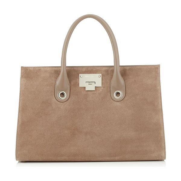 JIMMY CHOO RILEY Light Mocha Suede Tote Bag - In sophisticated light mocha suede, the Riley is a tote...