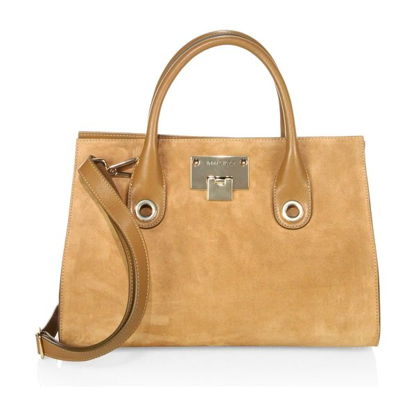Jimmy Choo riley suede & leather tote in hazel - Tonal suede-leather tote with spacious interior. Double...