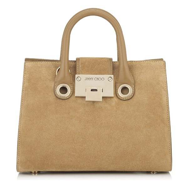 Jimmy Choo RILEY/S Hazel Suede Mini Tote Bag in hazel - A sophisticated yet practical tote bag, the Riley S in...