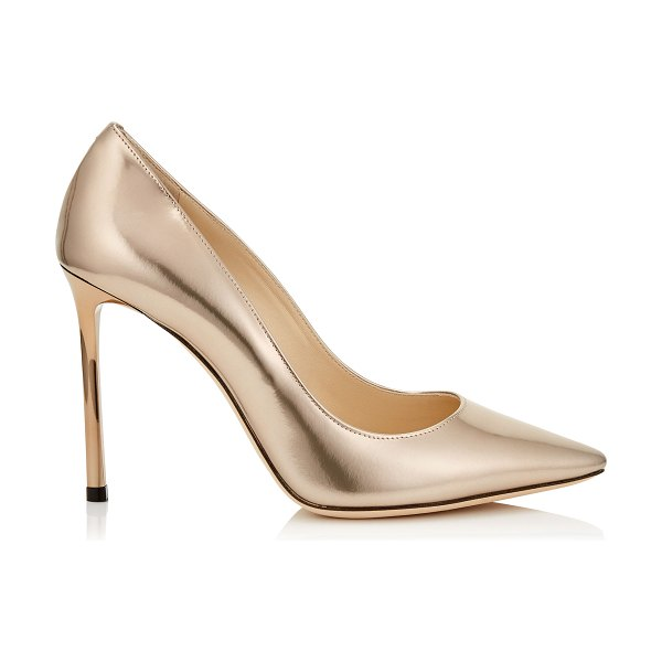 Jimmy Choo ROMY 100 Ballet Pink Liquid Mirror Leather Pointy Toe Pumps in ballet pink