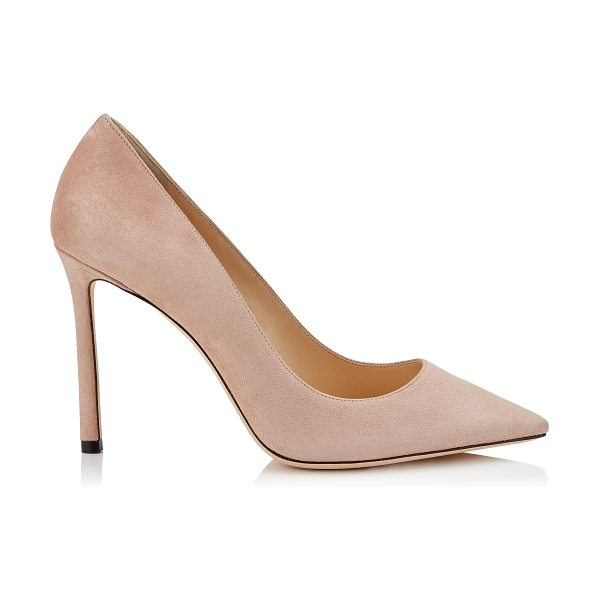 Jimmy Choo ROMY 100 Ballet Pink Suede Pointy Toe Pumps in ballet pink - The ever-classic Romy heel gets a contemporary update in...