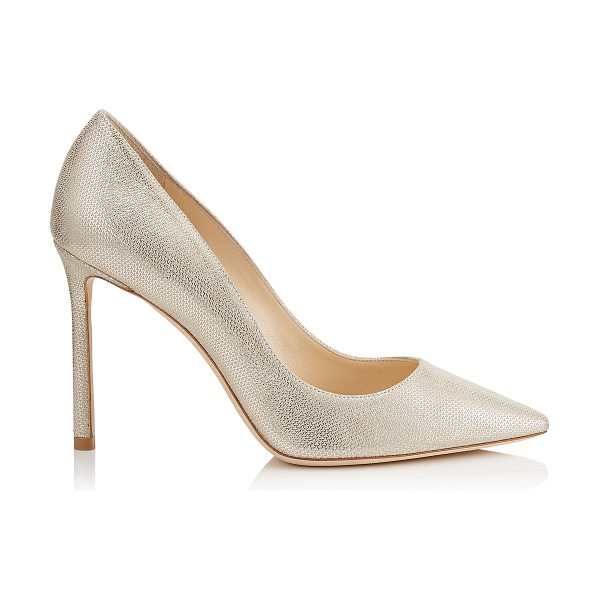 Jimmy Choo ROMY 100 Champagne Metallic Mini Print Leather Pointy Toe Pumps in champagne - The classic pointy toe pump has been slightly updated...