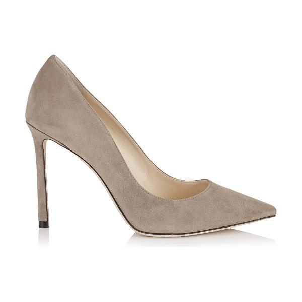 Jimmy Choo ROMY 100 Light Mocha Suede Pointy Toe Pumps in light mocha - The classic pointy toe pump has been slightly updated...