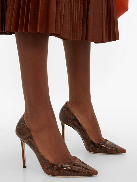Jimmy Choo romy 100 python effect leather pumps in tan multi