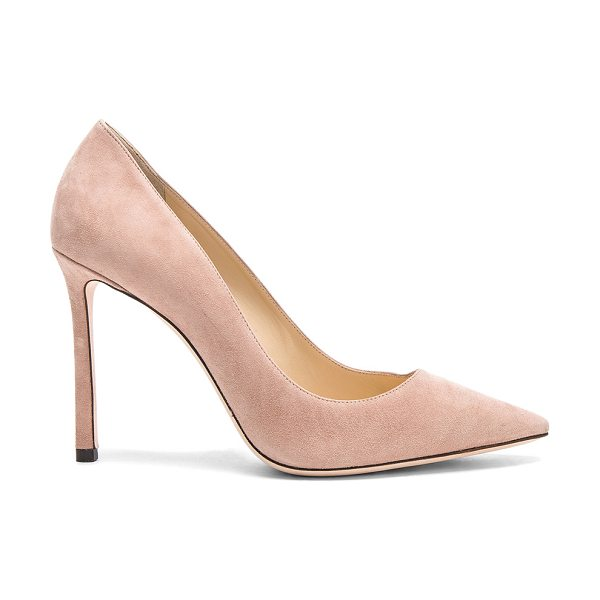 Jimmy Choo Romy 100 Suede Pumps in pink - Suede upper with leather sole.  Made in Italy.  Approx...