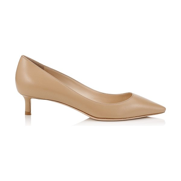 JIMMY CHOO ROMY 40 Nude Kid Leather Pointy Toe Pumps in nude - The classic pointy toe pump has been slightly updated...