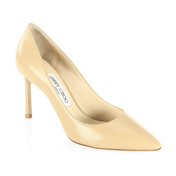 Jimmy Choo romy 85 leather point toe pumps in nude - Timeless point-toe silhouette in sleek leather....