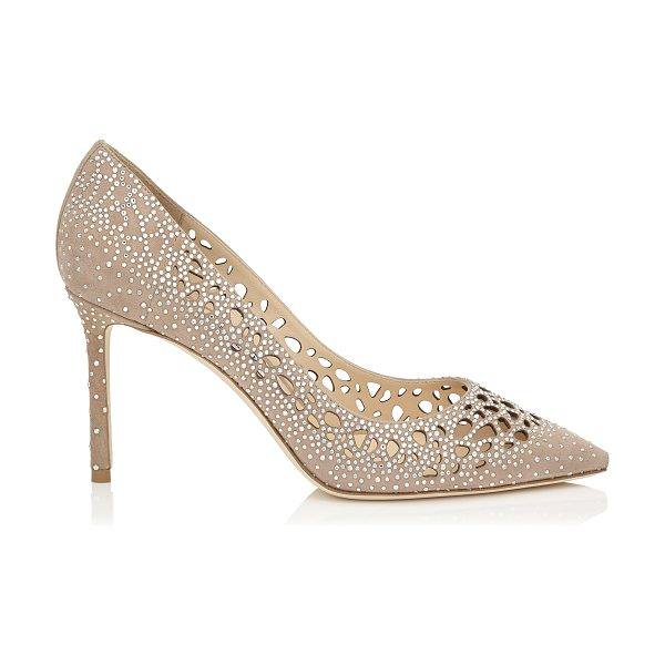 Jimmy Choo ROMY 85 Nude Perforated Suede with Crystal Hotfix Detailing Pointy Toe Pumps in nude/crystal - The classic pointy toe pump has been slightly updated...