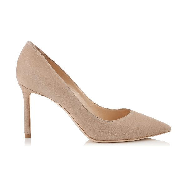 JIMMY CHOO ROMY 85 Nude Suede Pointy Toe Pumps - The ever-classic Romy heel is updated for the new season...