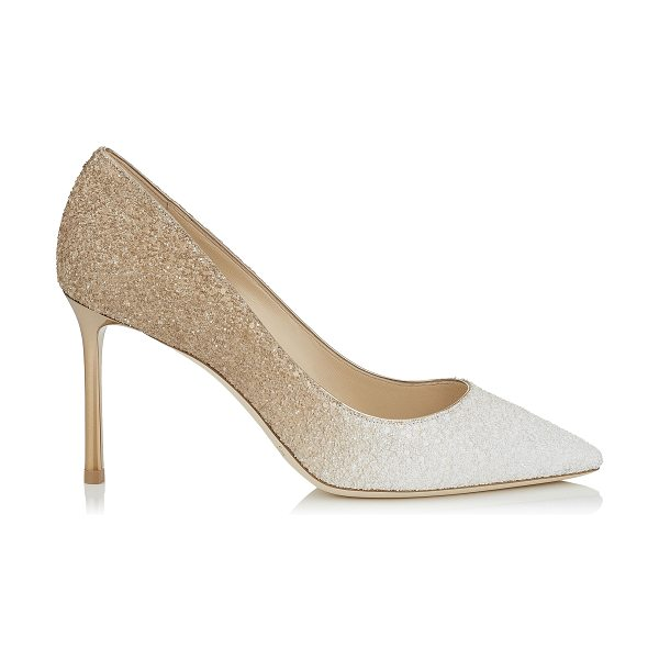 JIMMY CHOO ROMY 85 Optic White and Light Honey Coarse Glitter Degradé Pointy Toe Pumps - The classic pointy toe pump has been slightly updated...