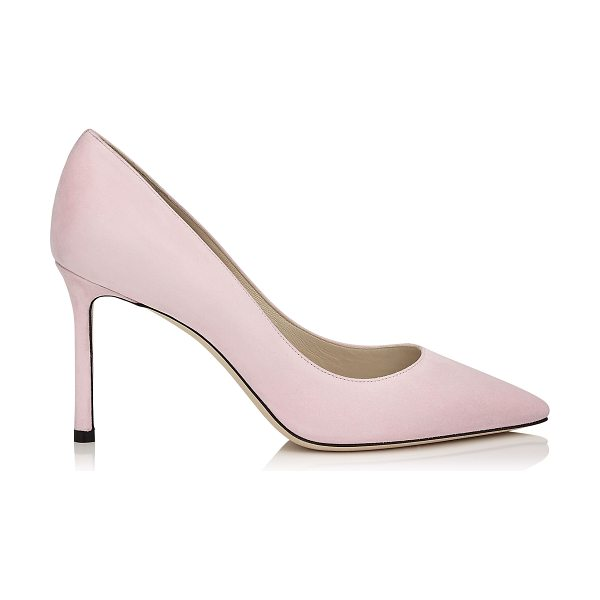 Jimmy Choo ROMY 85 Rosewater Suede Pointy Toe Pumps in rosewater