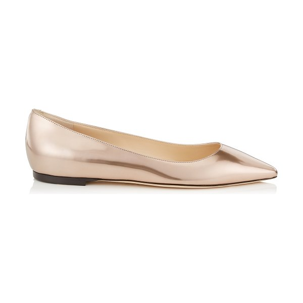 Jimmy Choo ROMY FLAT Ballet Pink Liquid Mirror Leather Pointy Toe Flats in ballet pink - The classic Romy flat is updated for the new season in a...