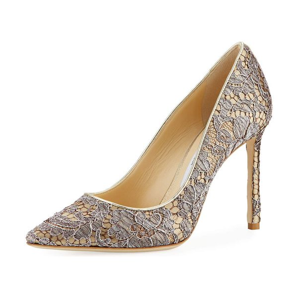"Jimmy Choo Romy Metallic Lace 100mm Pump in silver - Jimmy Choo metallic lace pump. 4"" covered heel. Pointed..."