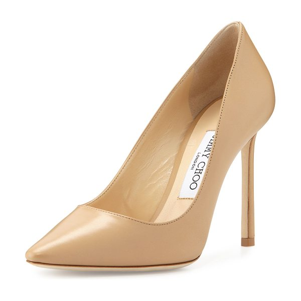 "Jimmy Choo Romy Leather Pointed-Toe 100mm Pump in nude - Jimmy Choo kid leather pump. 4"" covered heel. Pointed..."