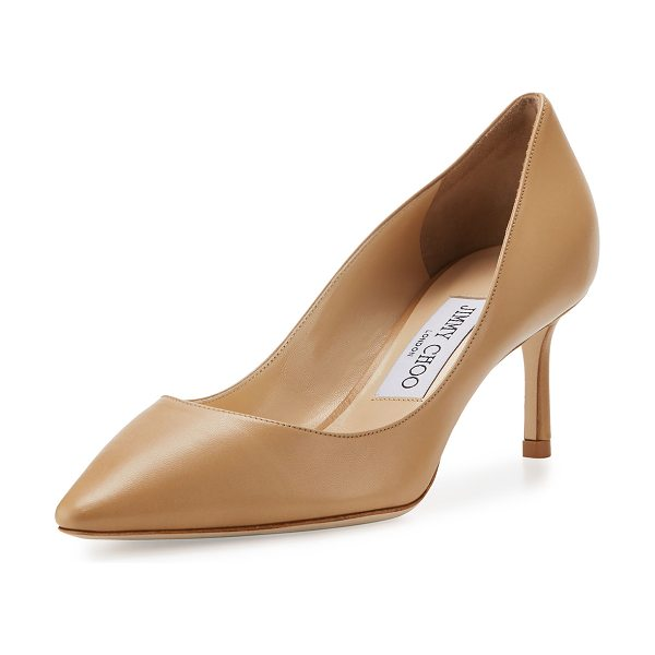 """Jimmy Choo Romy Leather Pointed-Toe 60mm Pump in nude - Jimmy Choo kid leather pump. 2.4"""" covered heel. Pointed..."""