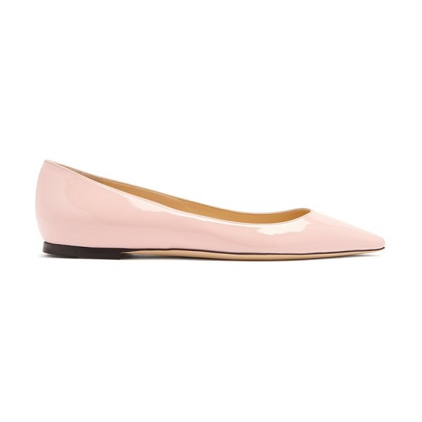 Jimmy Choo Romy Patent Leather Flats in light pink - Jimmy Choo - Jimmy Choo stays devoted to feminine...