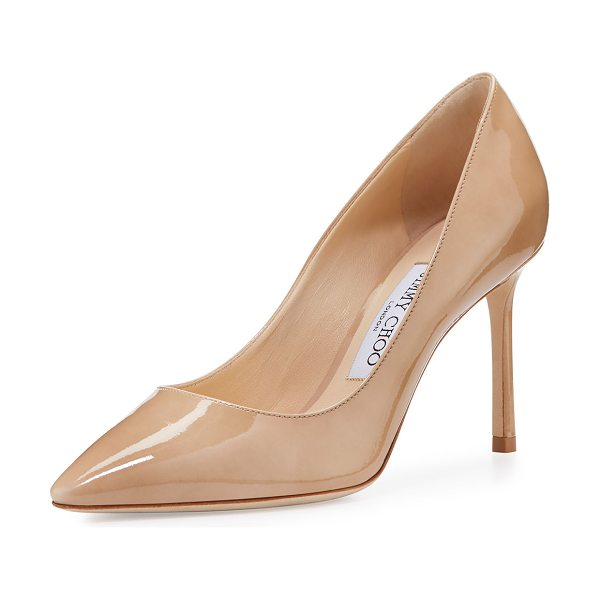 "Jimmy Choo Romy Patent Pointed-Toe 85mm Pump in nude - Jimmy Choo patent leather pump. 3.5"" covered stiletto..."