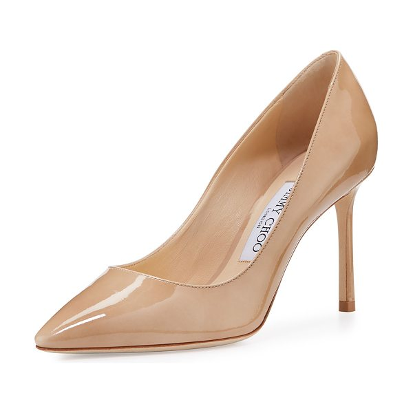 "JIMMY CHOO Romy Patent Pointed-Toe 85mm Pump in nude - Jimmy Choo patent leather pump. 3.5"" covered heel...."