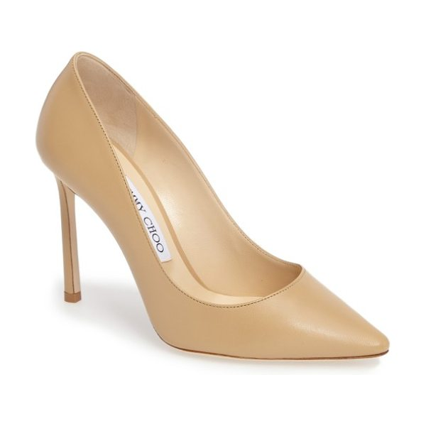 Nordstrom x Jimmy Choo jimmy choo 'romy' pointy toe pump in nude leather - Timeless elegance rules the day with this streamlined...