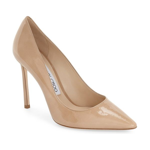 Jimmy Choo jimmy choo 'romy' pointy toe pump in nude patent - Timeless elegance rules the day with this streamlined...