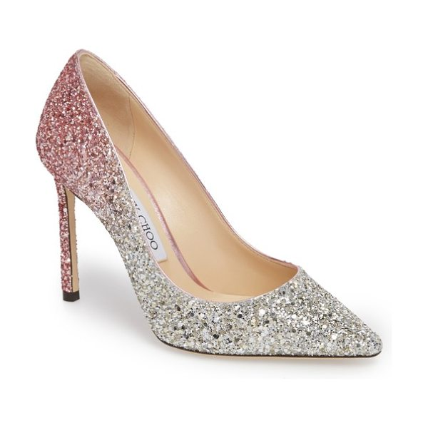 JIMMY CHOO 'romy' pointy toe pump in platinum/ flamingo pink - An ombre glitter finish provides a showstopping update...