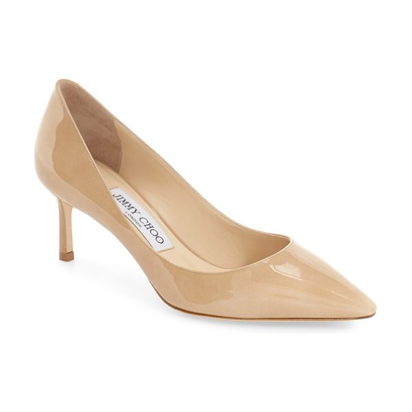 Jimmy Choo jimmy choo 'romy' pump in nude patent - Finely grained Italian leather extends the effortless...