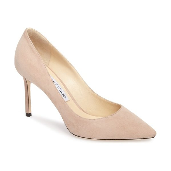 Jimmy Choo romy pump in pink - Jimmy Choo's signature Romy pump is silhouetted with...