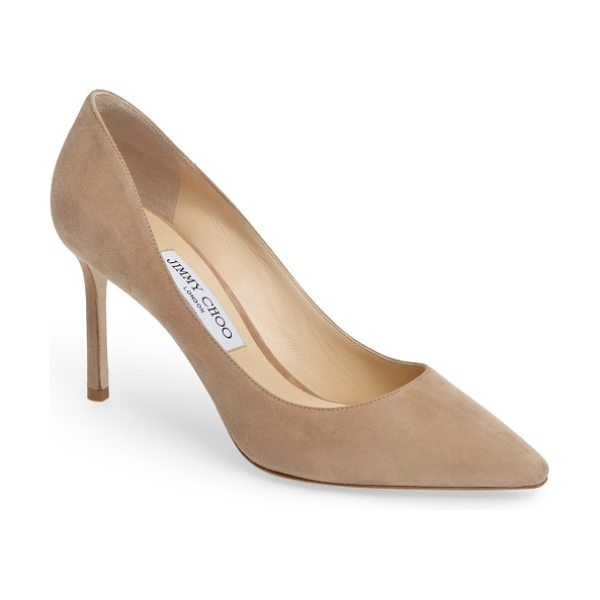 Nordstrom x Jimmy Choo jimmy choo romy pump in nude suede - Jimmy Choo's signature Romy pump is silhouetted with...