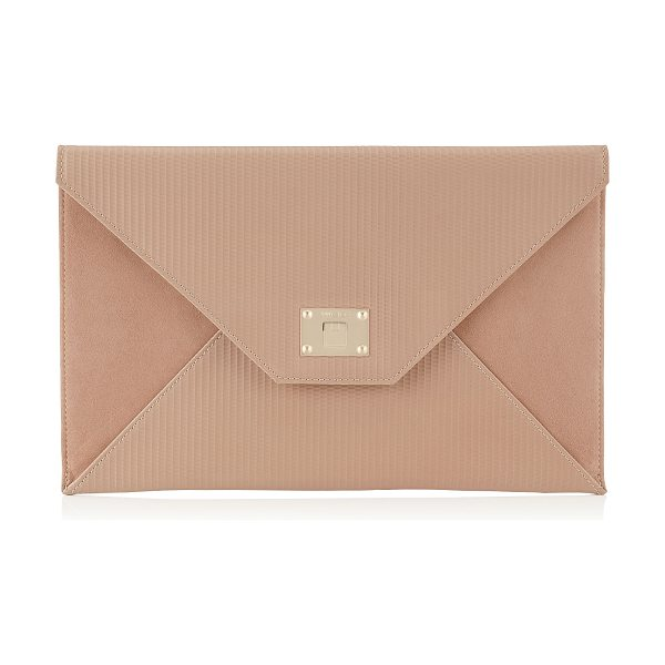 Jimmy Choo Rosetta ballet pink embossed striped leather and suede clutch bag in ballet pink - A sleek and modern envelope clutch bag. Rosetta features...