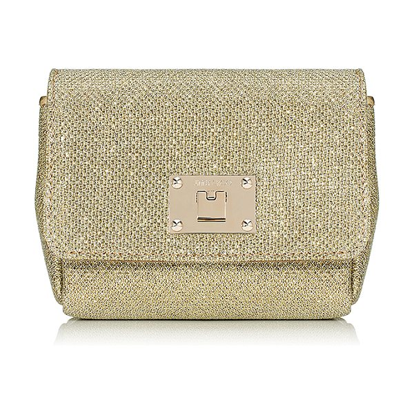 JIMMY CHOO Ruby gold lamé glitter fabric clutch bag with chain shoulder strap - A new style for Jimmy Choo, Ruby is a compact clutch...