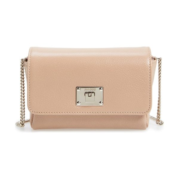 JIMMY CHOO 'ruby' grainy leather clutch in ballet pink - Supple goatskin leather in a gorgeous hue adds to the...