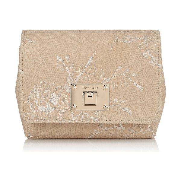 JIMMY CHOO Ruby nude lace on leather mini cross body bag - A compact clutch bag, carried neatly in your hand or...