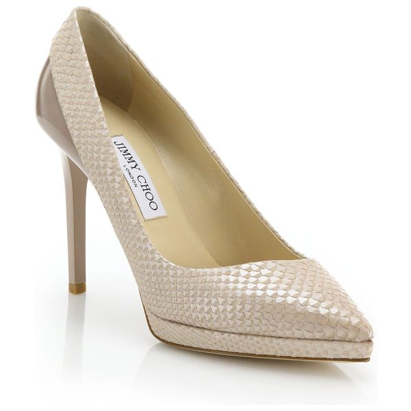 Jimmy Choo Rudy snake-embossed leather & patent leather pumps in nude