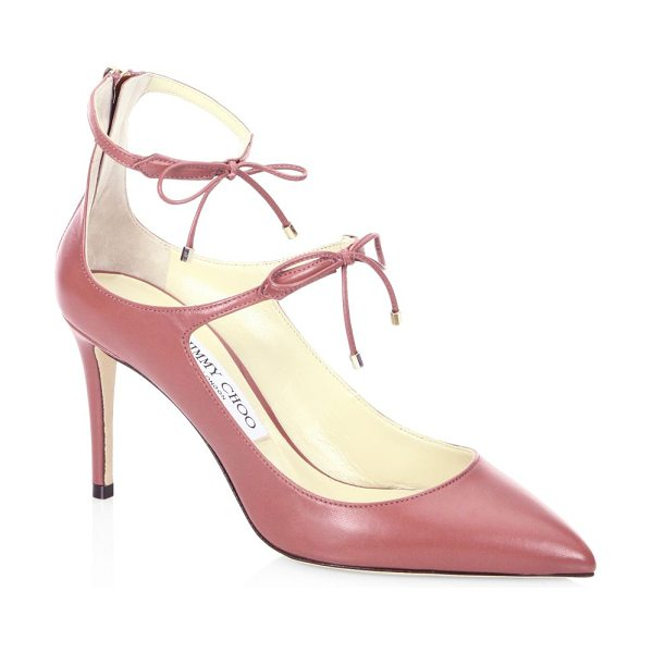 Jimmy Choo sage 85 leather pumps in vintage rose - Pointed leather pump with dual self-tie ankle straps....