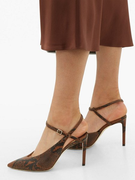 Jimmy Choo sakeya 85 python-effect leather pumps in tan multi