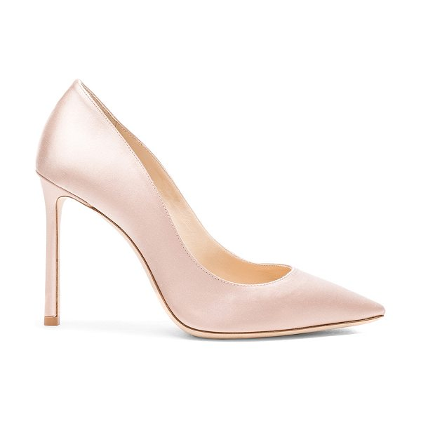 Jimmy Choo Romy 100 Satin Pumps in pink - Satin upper with leather sole.  Made in Italy.  Approx...