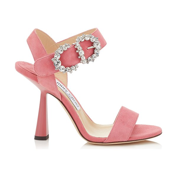Jimmy Choo SERENO 100 Candyfloss Suede Sandals with Jewelled Buckle in candyfloss